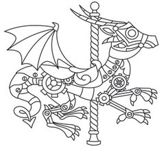 coloring page world steampunk carousel dragon