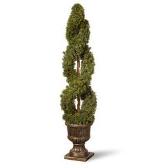 National Tree 54 Inch Double Cedar Spiral Tree in Decorative Urn Topiary Plants, Boxwood Topiary, Ivy Plants, Topiary Trees, Potted Trees, Fake Plants, Planters, Balcony Plants, Artificial Topiary