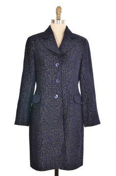 Oasis Blue Pattern Jacket Size 8 | ClosetDash  #baroque #jacket #outerwear #fashion #style #vintage #coat #navy