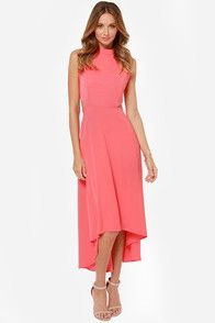 See You Swoon Cutout Coral Pink High-Low Dress
