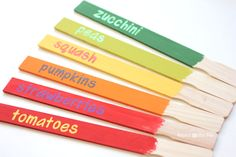 Repeat Crafter Me: Paint Mixing Stick Garden Signs