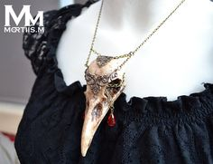 Animal-friendly WarriorCrow crow skull necklace by MortiisM