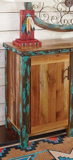 Barnwood Buffet Cabinet: A distressed turquoise finish and brass nailheads highlight eco-friendly reclaimed barnwood on this unique, handmade piece. Four drawers and two cupboards with one adjustable shelf in each. Western Furniture, Buffet Cabinet, Barn Wood, Rustic Furniture, Ranch House Decor, Farm Decor, Southwestern Furniture, Ranch Decor, Painted Furniture