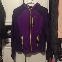 Marmot hoodie Nice soft warm material. Bought it on accident, didn't realize it was purple. Worn a handful of times. Marmot Sweaters