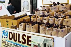 Bags of Dulse (a salty dried seaweed snack) - The Saint John City Market, New Brunswick, Canada A maritime snack takes some getting used too very high in iodine . Saint John New Brunswick, Brunswick Maine, New Brunswick Canada, Dried Seaweed Snack, Atlantic Canada, Mouth Watering Food, Win A Trip, Prince Edward Island, Canada Travel