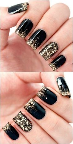 Black And Gold Glitter Acrylic Nail Designs Nails Autumn Fake
