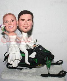 WowMiniMe.com 100% handmade custom wedding cake toppers look like you from photo- Skidoo Snowmobile cake toppers