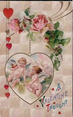 WINSCH POSTCARD: A VALENTINE THOUGHTS CHERUBS WITH BUTTERFLY ROSES - J15123