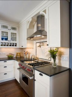 white-kitchen-stainless-hood, pot filler