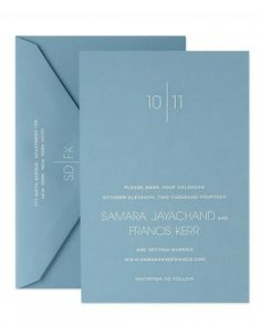 Sleek Save-the-Date    For the ultimate in clean sophistication, opt for this white, hand-engraved design printed on blue card stock.     Crane & Co.