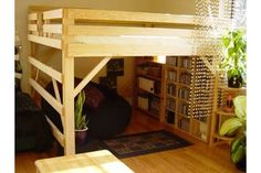 A king-size loft bed is certainly an unconventional piece of furniture, but it saves more than 40 square feet of floor space. This project will take a few hours. These plans are for pine and plywood, the cheapest woods available, but you can substitute more expensive lumber for a fancier finished product.