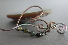 Green ombre tourmaline heart shawl pin or scarf pin in copper with a wavy pin stick