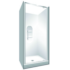Features Low profile tray with 40mm upstand Tray is Rear Centre Waste. 1950mm high glass. 6mm safety glass Standard Pivot Door Modern 1-piece design which is reversible (flip to fit)  One piece acrylic lining with moulded shelf. Pivot Door models Available in White and Silva
