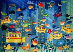 Moskowitz Whimsical Nursery Art Print - FISH CITY. Love this fun art for kids.