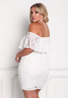 Plus Size Clothing | Plus Size Floral Lace Off Shoulder Bodycon Dress | Debshops