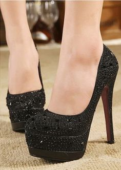 Stylish Sexy High Heel and Rhinestone Design Pumps For Women Pump Types, Sexy High Heels, Toe Shape, Black Pumps, Women's Pumps, Stiletto Heels, Shoe Boots, Footwear, Zapatos