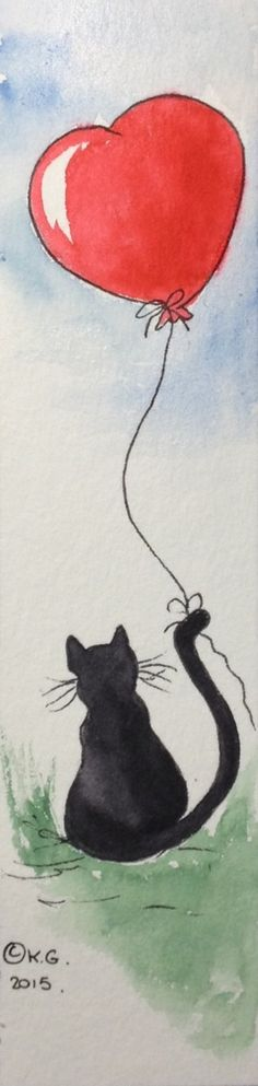 Black cat holding a heart-shaped balloon.  Bookmark on watercolor paper.