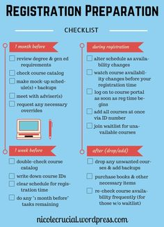 Get ready to register for classes with this handy checklist!   registration timeline, preparation checklist for #college #students for class schedule.   nicolecrucial.wordpress.com