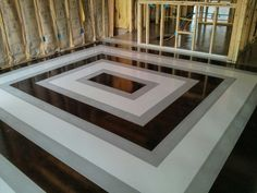 Stained Concrete floor black and white squares