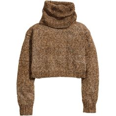 H&M Short polo-neck jumper (€13) ❤ liked on Polyvore featuring tops, sweaters, shirts, jumpers, dark beige, wool long sleeve shirt, turtleneck shirt, h&m sweaters, wool shirt and turtle neck shirt