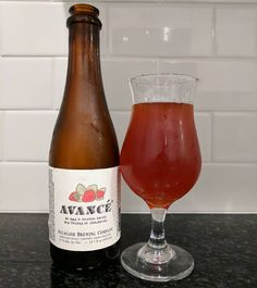 Avancé strawberry sour beer aged in bourbon barrels from @allagashbrewing