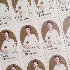 Set of 10 Emily Dickinson unused postage stamp by darlingone Always A Bridesmaid, Mother Of Pearl Earrings, American Poets, Emily Dickinson, Mail Art, Love Letters, Paper Goods, Postage Stamps, Flower Art