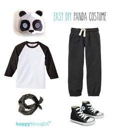 Easy, fun DIY panda costume with happythought printable panda mask! happythought.co.uk/craft/animal-costume-ideas