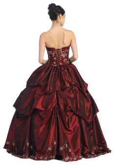 Burgundy Corset Embroidery Wedding Formal Ball Gown - Back View