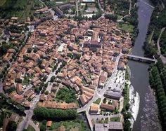 Aerial view of beautiful St Antonin Noble Val