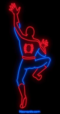 Neon Spidey. Wallcrawling or dancing? You decide. ©Neonardo