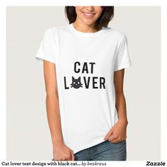 Cat lover text design with black cat face