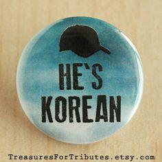 He's Korean Pinback Button, The Walking Dead Pin, Zombie Button, Walker Badge, Glenn Pinback, Daryl Dixon Pin, Walking Dead, Rick Grimes Pin