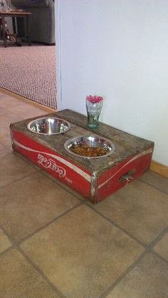 Pet food bowl holder awesome idea