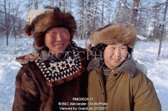 Image of roman elrika, an even reindeer herder with his 11 year old son, misha. northern evensk, magadan region, e. siberia, russia. by ArcticPhoto