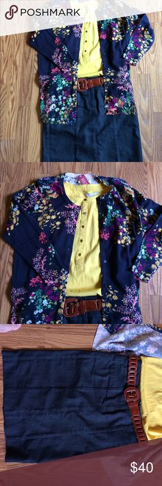 💐Delicate Flowers Outfit Bundle💐 Perfect for the office in the summer! Everything you see pictured is included. Ann Taylor Denim pencil skirt size 0 NWOT, Mustard Yellow Banana Republic sleeveless blouse size S EUC, Navy floral Merona Cardigan size S NWT and a vintage brown leather belt. Pictures don't do this one justice. Get this beautiful outfit while you can! I offer a 20% discount on bundles of 2 or more items. Bundle and save! Ann Taylor Skirts Midi