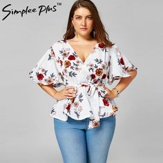 PlusMiss Plus Size Floral Flower Print Belted Peplum Blouse Women Summer V Neck Flare Sleeve Boho Beach White Chiffon Tops Plus Size Bikini Bottoms, Women's Plus Size Swimwear, Curvy Swimwear, Plus Size Womens Clothing, Plus Size Outfits, Size Clothing, Curvy Outfits, Curvy Fashion, Plus Size Fashion