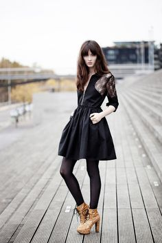 LBD with lace, zipper, pockets, full skirt, booties . . .