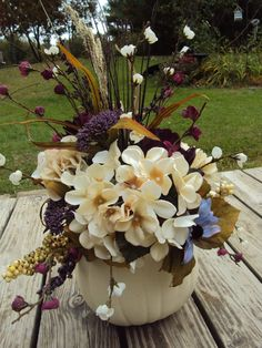 Large Elegant Purple Floral White Pumpkin by KreativelyKrafted, $70.00 This would be good with orange pumpkins