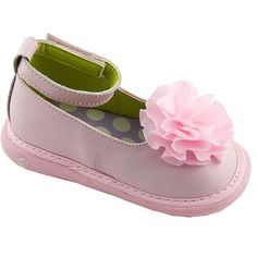 Wee Squeak Pink Ankle Strap Shoes. Pale pink mary jane dress shoes for girls with chiffon flower accents. See More Shoes at http://www.ourgreatshop.com/Shoes-C201.aspx