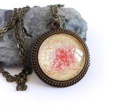 Red vanilla necklace, handpainted pendant, antique brass jewerly, long cabochon pendant necklace, glass dome pebeo jewerly, unique gift