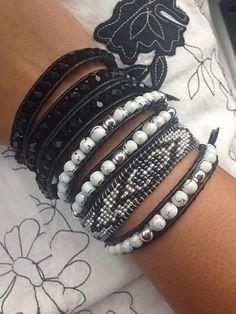 Black & White Stacked Beaded Leather Wrap Bracelets Bohemiam Style Beach Bracelet