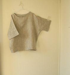 ECRU LINEN TOP / ready to ship / natural linen shirt by PAMELATANG