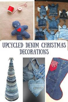 The Best Upcycled Denim Crafts & DIY Why not recycle your old jeans into something fabulous. Denim is a fantastic fabric to upcycle with, here are some of the best denim crafts and DIY's to inspire you. Jean Crafts, Denim Crafts, Upcycled Crafts, Repurposed, All Things Christmas, Christmas Holidays, Christmas Ornaments, Recycled Christmas Decorations, Blue Christmas