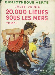 François Batet - 20.000 lieues sous les mers t1, Jules Verne, Hachette Bibliothèque verte à jaquette (c)1947 1956. cartonnage avec jaquette illustrée et Illus intérieures.