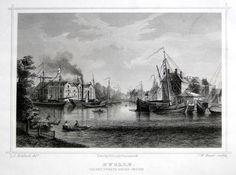 Zwolle-van het Zwarte Water gezien   Herkomst : J.L. Terwen - Het Koningrijk der Nederlanden, afm. 14 x 20 cm Staalgravure 1860