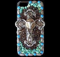 iPhone 5 or 5s Western Southwestern Longhorn Cross and Turquoise Cell Phone Case