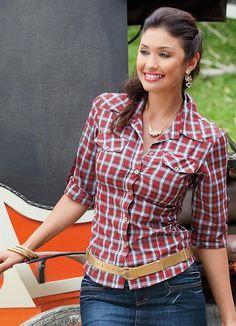 Camisa xadrez feminina Moda mulher