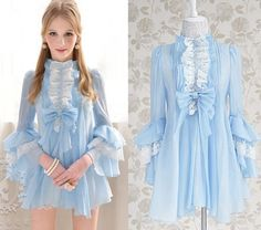 Kawaii Fashion Dolly sweet Cute Princess Wedding Party Blue Lace BOW Shirt S~XL