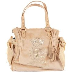 Juicy Couture Womens Pretty Day Velour Almond Cream Ms. Daydreamer Bag ($130) ❤ liked on Polyvore featuring bags, handbags, bolsas, purses, juicy couture handbags, cream purse, juicy couture, beige purse and studded handbags