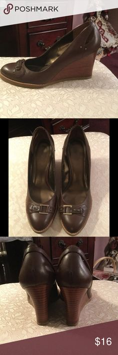Wedges Brown, faux buckle on toe, very comfortable, the wedge of the shoe looks like wood, very trendy LOFT Shoes Wedges
